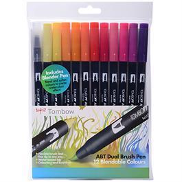 Tombow Dual Brush Pen Set Of 12 Sunset Colours Thumbnail Image 0
