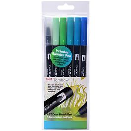 Tombow Dual Brush Pen Set Of 6 Ocean Colours thumbnail