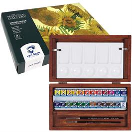 National Gallery Watercolour Wooden Box Set With 24 Half Pans Thumbnail Image 2