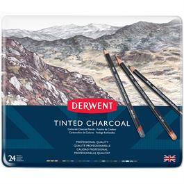 Derwent Tinted Charcoal Tin of 24 Thumbnail Image 2