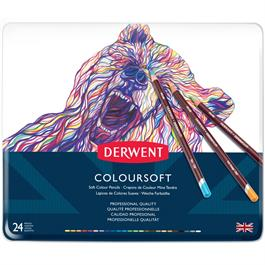 Derwent Coloursoft Pencils Tin of 24 Thumbnail Image 0