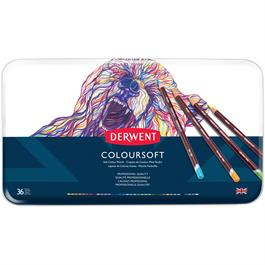 Derwent Coloursoft Pencils Tin of 36 Thumbnail Image 1