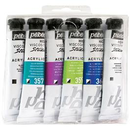 Pebeo Studio Acrylics Set of 6 Dyna Colours 20ml Thumbnail Image 0