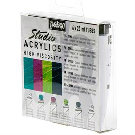 Pebeo Studio Acrylics Set of 6 Dyna Colours 20ml Thumbnail Image 1