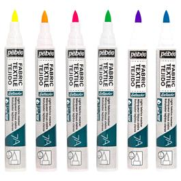 Pebeo 7A Fabric Marker Set Of 6 Fluorescent Colours Thumbnail Image 1