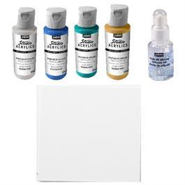 Pebeo Pouring Acrylic Discovery Kit 4 x 59ml & Silicone Oil Thumbnail Image 1