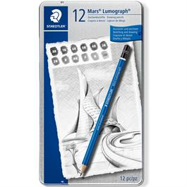 Staedtler Mars Lumograph Pencil - Tin of 12 soft degrees thumbnail
