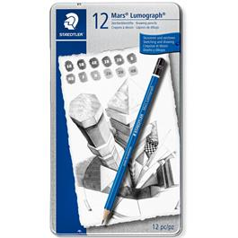 Staedtler Mars Lumograph Pencil - Tin of 12 medium degrees thumbnail