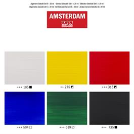 Amsterdam Acrylic General Selection Set 6x20ml Thumbnail Image 2