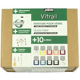 Pebeo Vitrail Collection Set 10 x 45ml Thumbnail Image 1