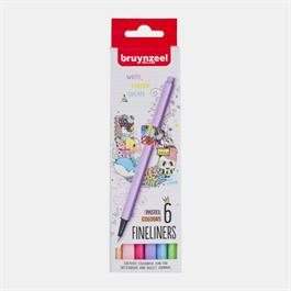 Bruynzeel Fineliner Pastel 6 Colour Set thumbnail