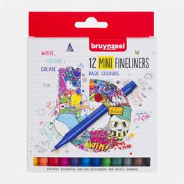 Bruynzeel Fineliner Mini 12 Basic Colour Set Thumbnail Image 0