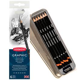 Derwent Graphic Pencils Tin of 6 Thumbnail Image 0