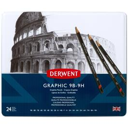 Derwent Graphic Pencils Tin of 24 Thumbnail Image 1