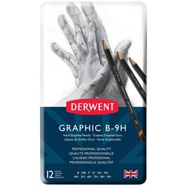 Derwent Graphic Pencils Hard (Technical) Tin of 12 Thumbnail Image 1