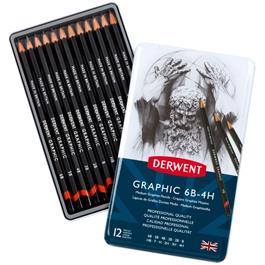 Derwent Graphic Pencils Medium (Designer) Tin of 12 Thumbnail Image 0