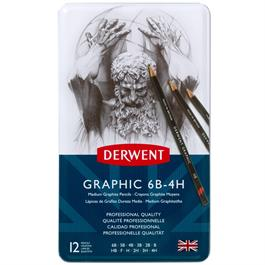 Derwent Graphic Pencils Medium (Designer) Tin of 12 Thumbnail Image 1