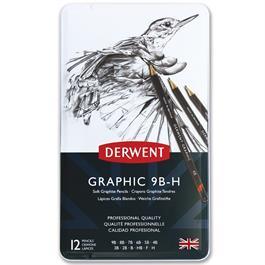 Derwent Graphic Pencils Soft (Sketching) Tin of 12 Thumbnail Image 1