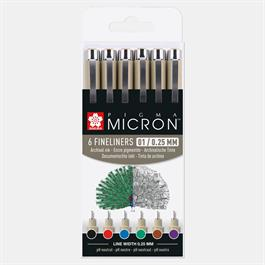 Pigma Micron Fineliners Wallet 6 Colours 01/ 0.25mm Thumbnail Image 0