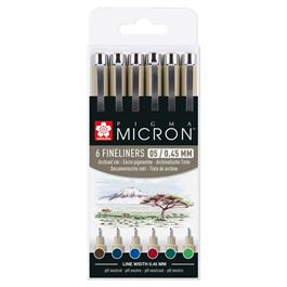 Pigma Micron Fineliners Wallet 6 Earth Colours 05/ 0.45mm thumbnail