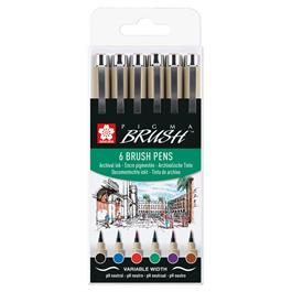 Sakura Pigma Brush Wallet 6 Basic Colours thumbnail
