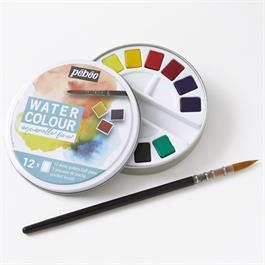 Pebeo Watercolour Classic 12 Half Pan Round Metal Tin Thumbnail Image 1