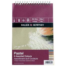 "Daler Rowney Ingres Spiral 6 Assorted Colours 12x9"" thumbnail"
