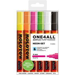 Molotow ONE4ALL 227HS Paint Pen Neon Set - 6 x 4mm Round Nib Pens thumbnail