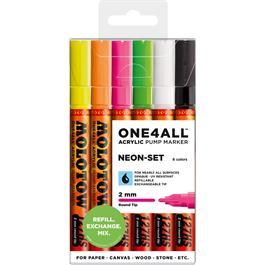 Molotow ONE4ALL 127HS Paint Pen Neon Set - 6 x 2mm Round Nib Pens thumbnail