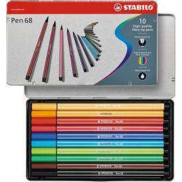 STABILO Pen 68 - Tin of 10 Fibre Tip Pens