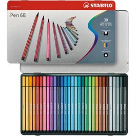 STABILO Pen 68 - Tin of 30 Fibre Tip Pens