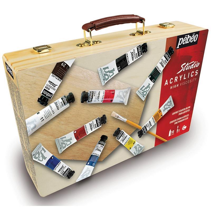 Pebeo Studio Acrylic Paint Starter Kit Wooden Box