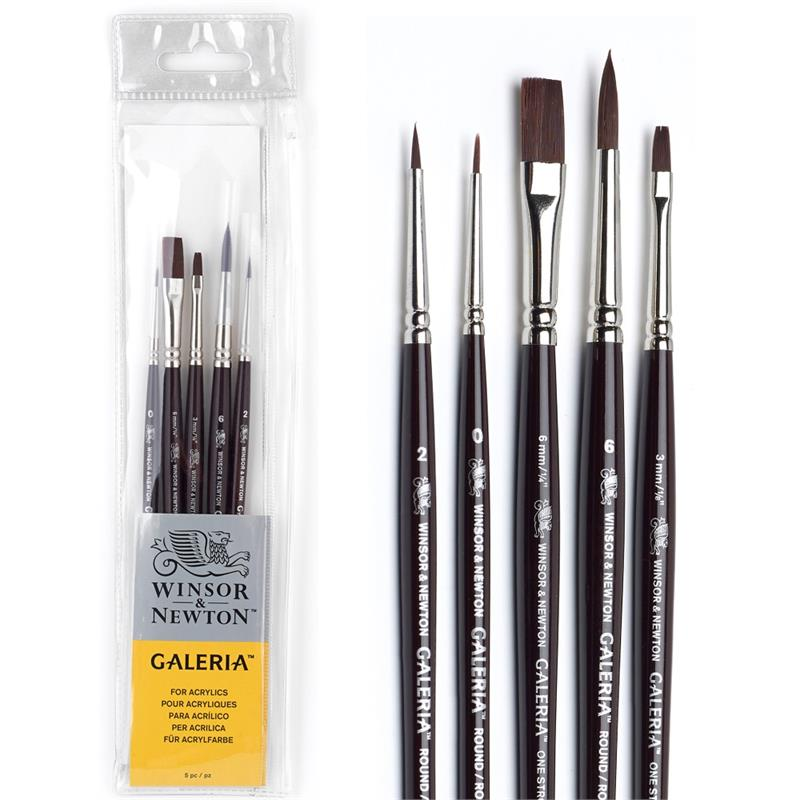 Long Handle Winsor /& Newton Galeria Acrylic 3 Brush Set Wallet